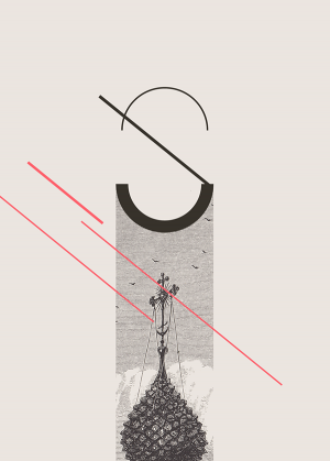 Type mixed with graphic and old etching visuals.