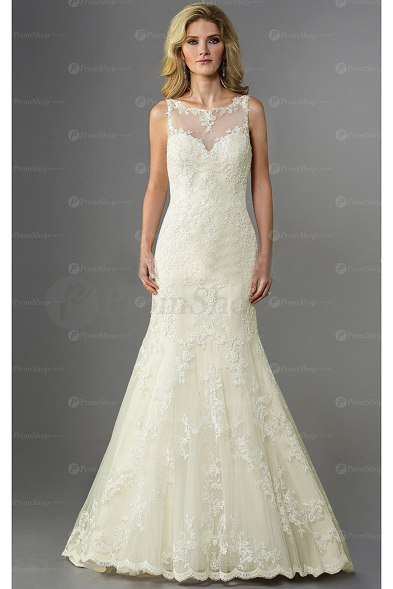 New Arrivals Lace Buttons Empire Sleeveless Wedding Dresses