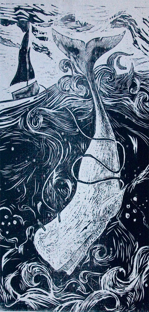 Moby Dick Woodblock Print