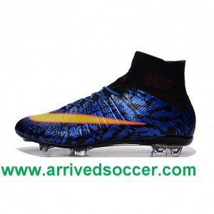 2016 Nike Mercurial Superfly FG Grid Deep Blue Orange Yellow