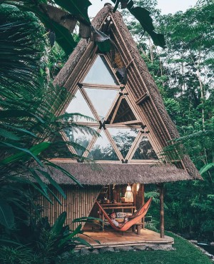 Home for the night. A bamboo house in Bali
