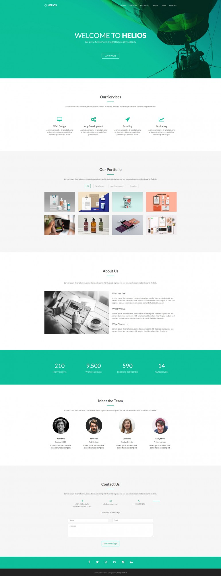 Helios – Free One Page Agency Template