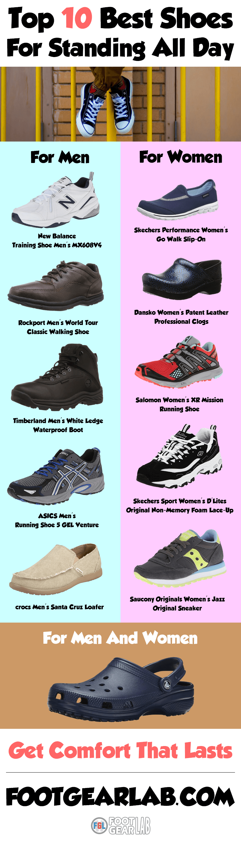 Top 10 Best Shoes For Standing All Day On Your Feet