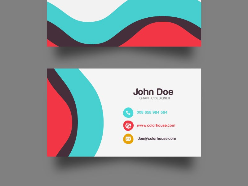 Flat Wave Business Card Template