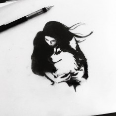 Girl and wolf drawing by Jenna Bresnahan