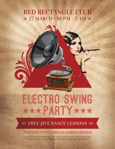Electro Swing Party Flyer Design