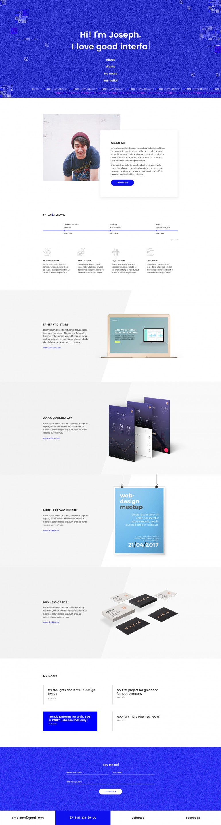 Amazy — Trendy and Creative Personal Page for Designers, Illustrators and Developers