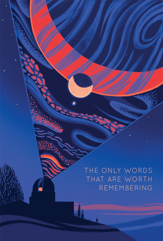 """Book Cover illustration for """"The Only Words That Are Worth Remembering"""""""