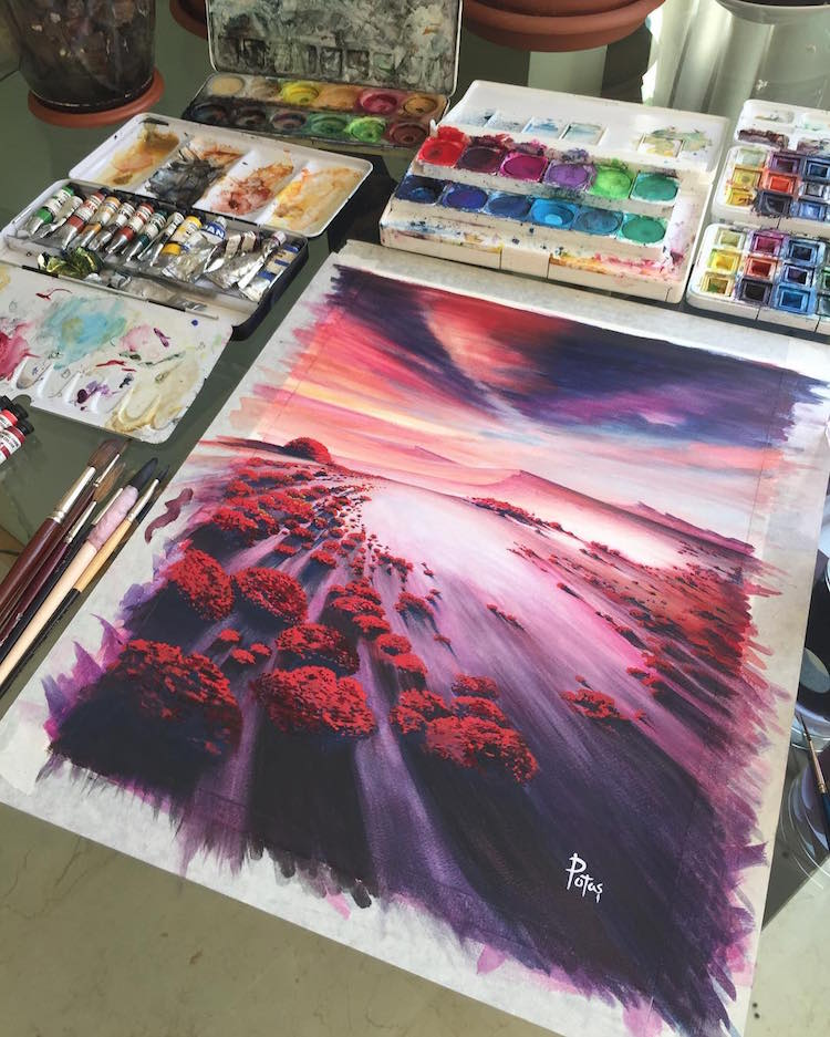 Stunning Watercolor Landscape Nature Paintings of Adem Potaş