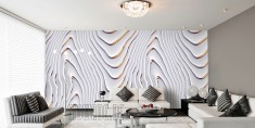 Elegant walldesign with wave pattern white and gold.