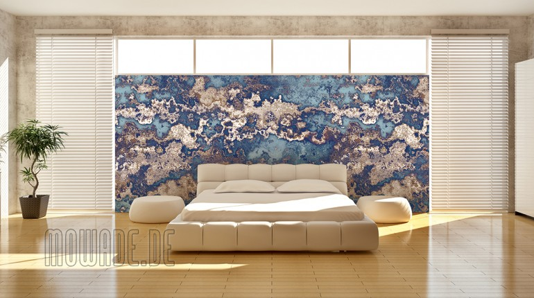 Walldesign in antique look turquoise brown.