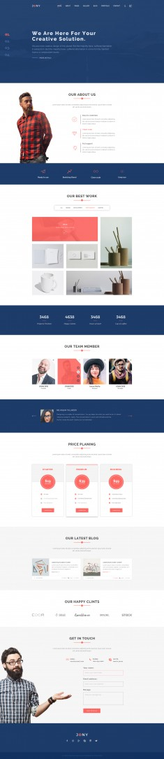 Joney portfolio psd template. It is a creative one page PSD template designed in the Bootstrap G ...