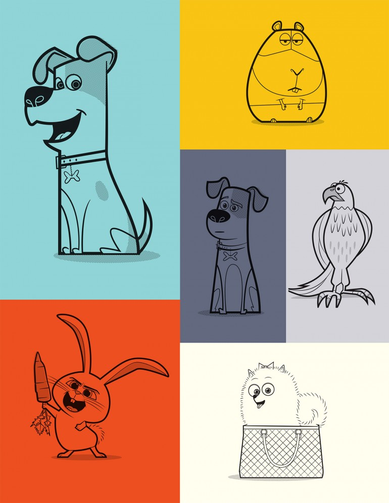 Secret Life of Pets Stylized Art and Product Graphics