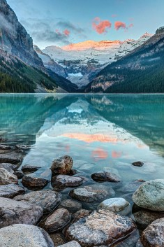 Dawn at Lake Louise in Banff, National Park, Alberta, Canada