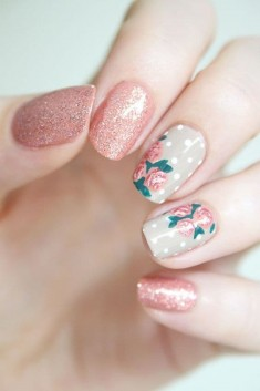 Classic Rose Flowers Nail Art Designs