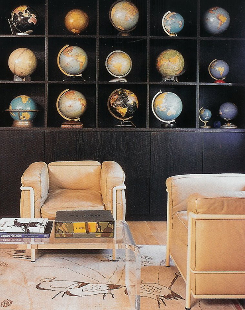 Office with Cool Vintage Looking Globes, Le Corbusier LC2 Chairs