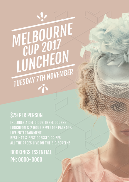Melbourne Cup Luncheon Template featuring lady in vintage fascinator