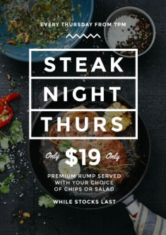 Black & White Steak Night Poster with Top View of Steak in Pan / Design Template