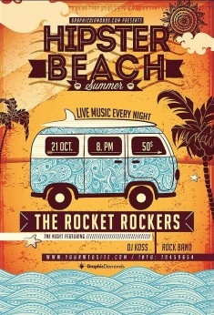 Hipster Beach Summer Flyer