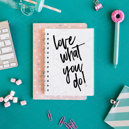 Love what you do – Flatlay image & Quote Graphic Template