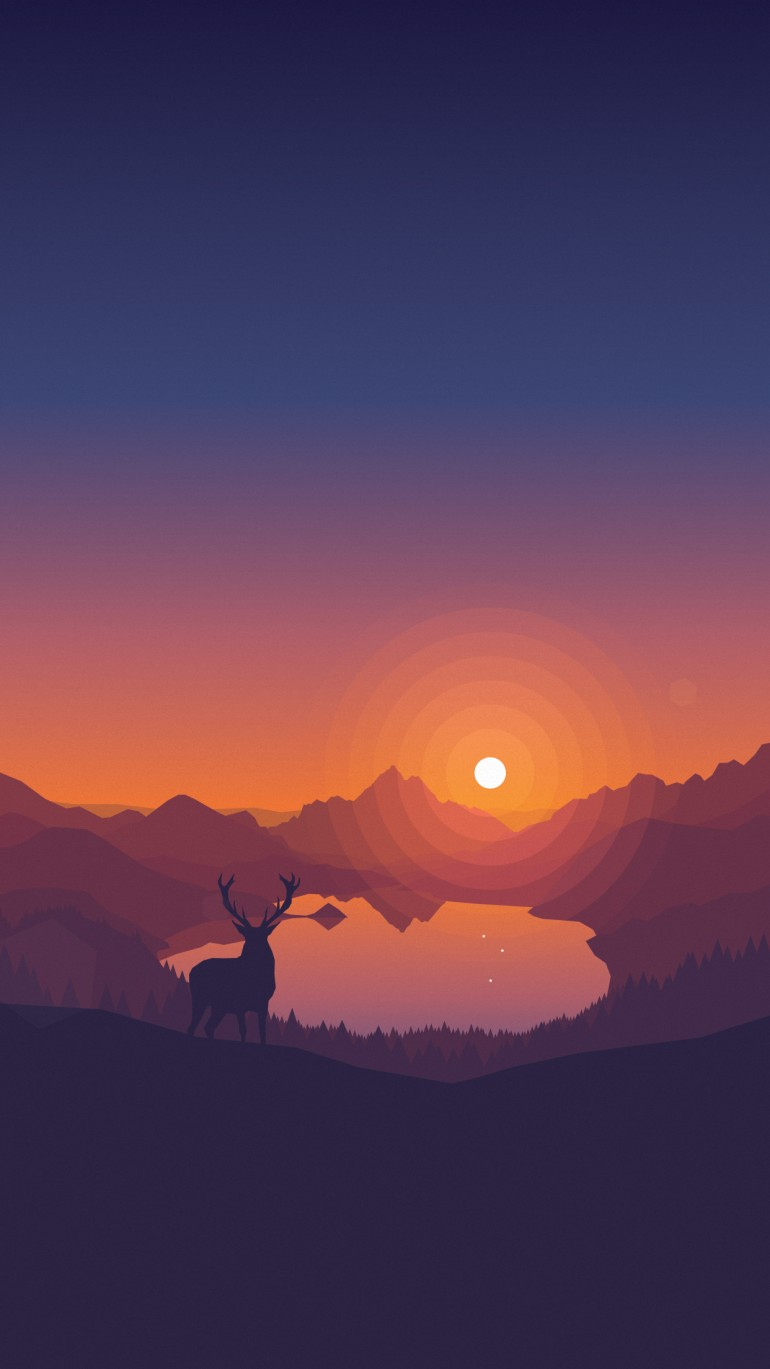 Lakeside Sunset Wallpaper by Louis Coyle