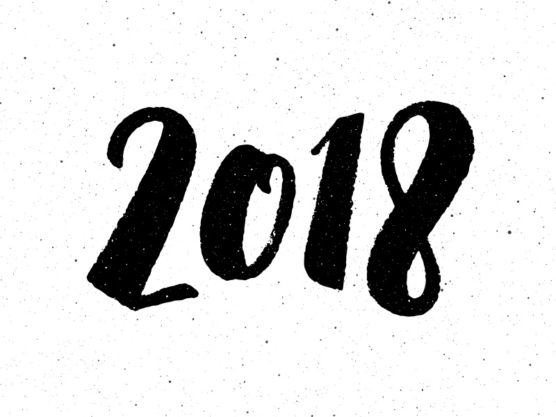 Happy New Year 2018 hand drawn lettering by Yurlick