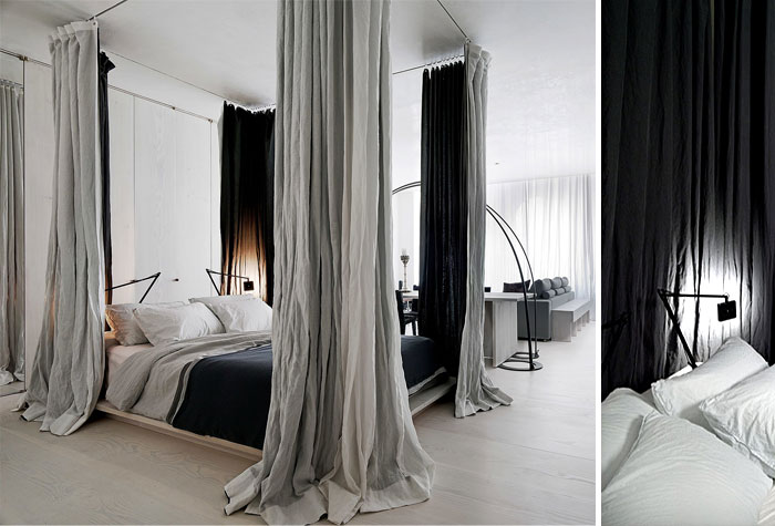 Separate the bedroom zone only with curtains