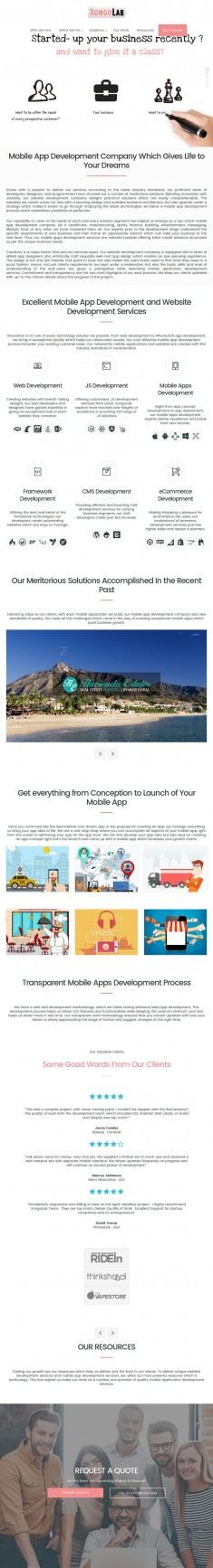 Website Design of XongoLab, A Top Web and Mobile App Development Company..