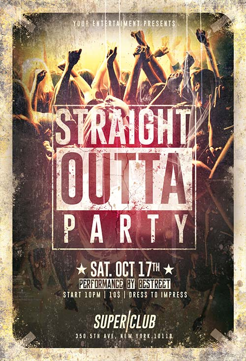 Straight Outta Party Flyer Psd