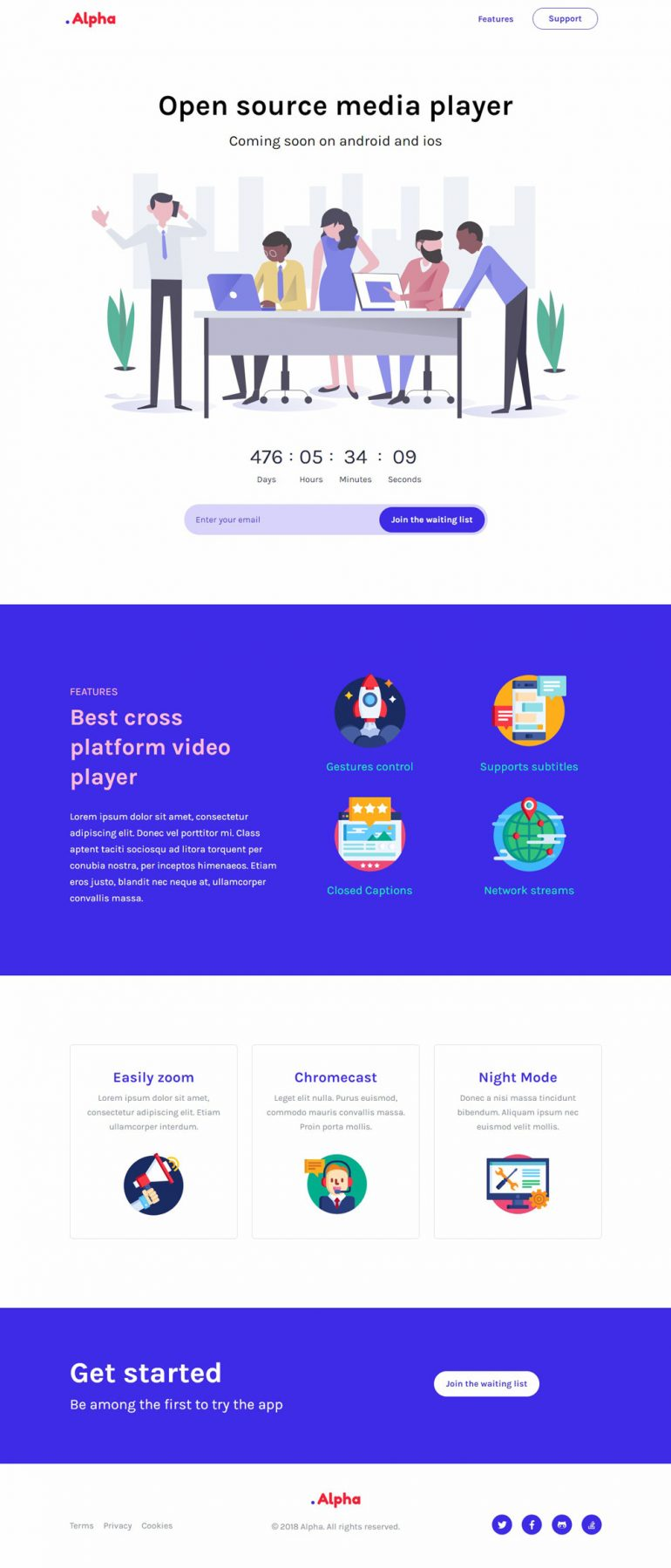 Alpha – Coming Soon Landing Page