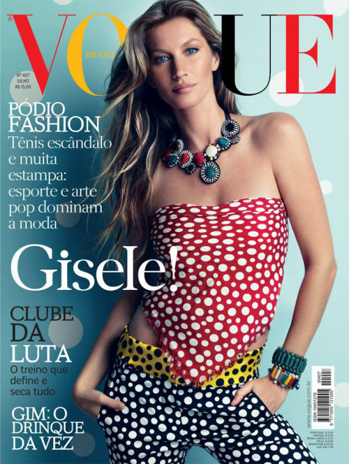 Gisele Bundchen graces the July 2012 cover of Vogue Brazil