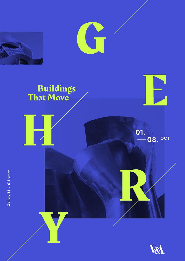 Typographic poster for an exhibition at the V&A for architect Frank Gehry