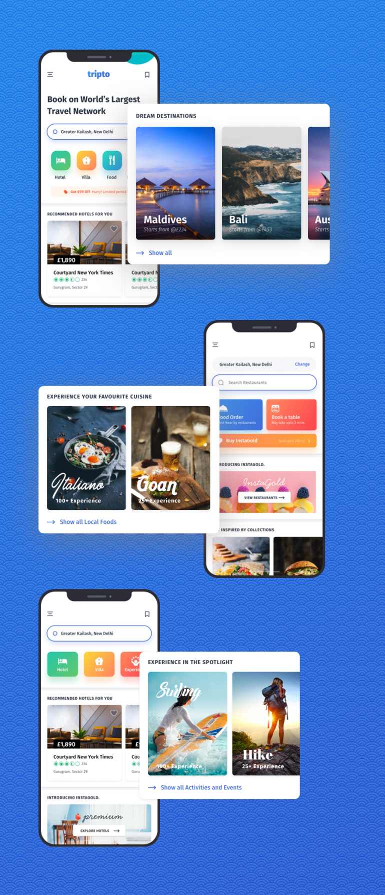 Tripto – Travel and Food Mobile App UI-kit by Design-Oxy