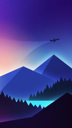 Minimalism, airplane over mountains, gradient wallpaper, background