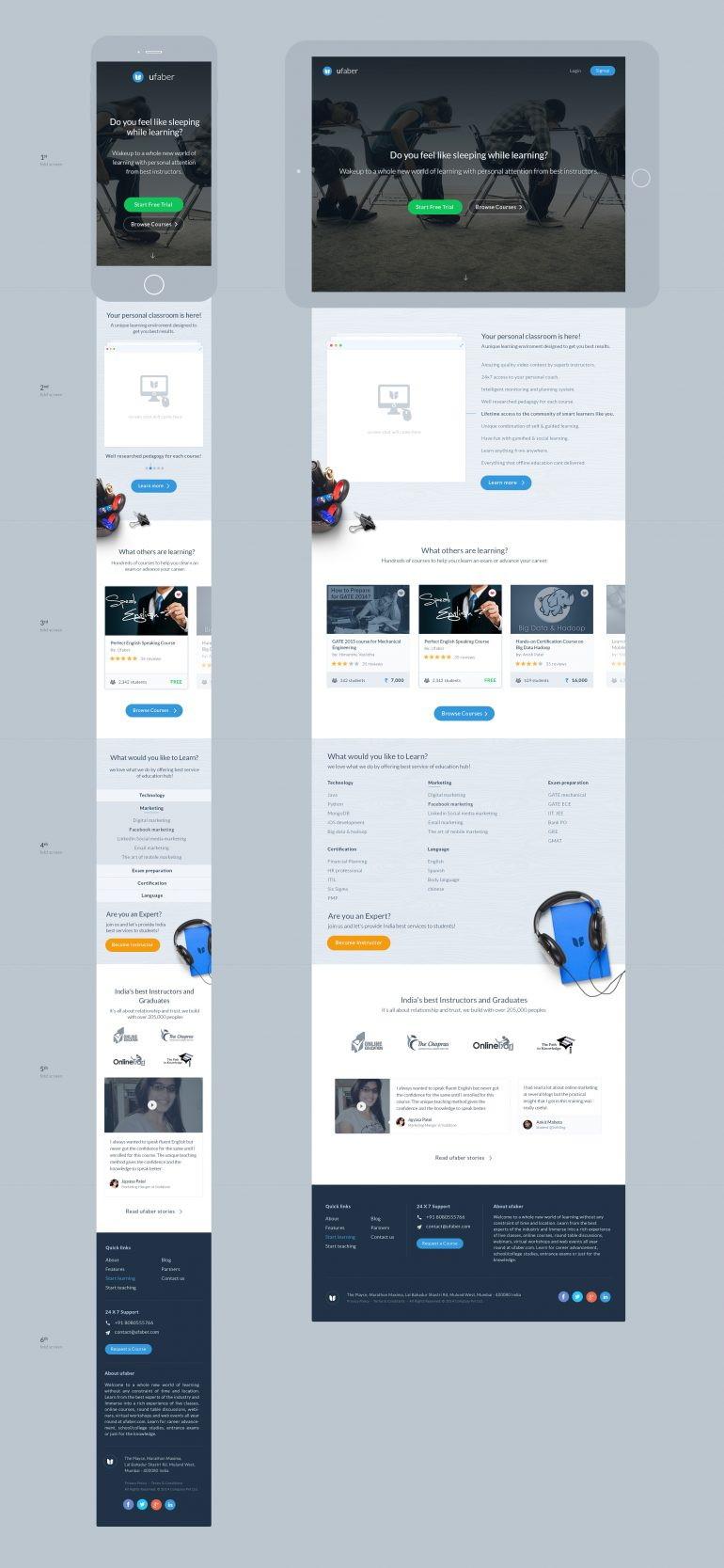 ufaber landing page by Kenil Bhavsar