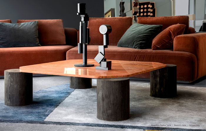 A pair of hand-crafted tables
