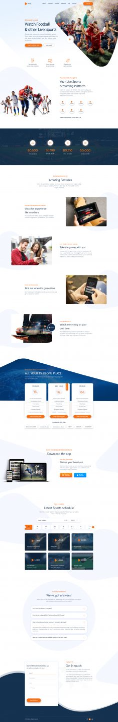 Reloj – Sports Streaming Landing Page