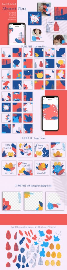 Abstract Flora – Social Media Pack
