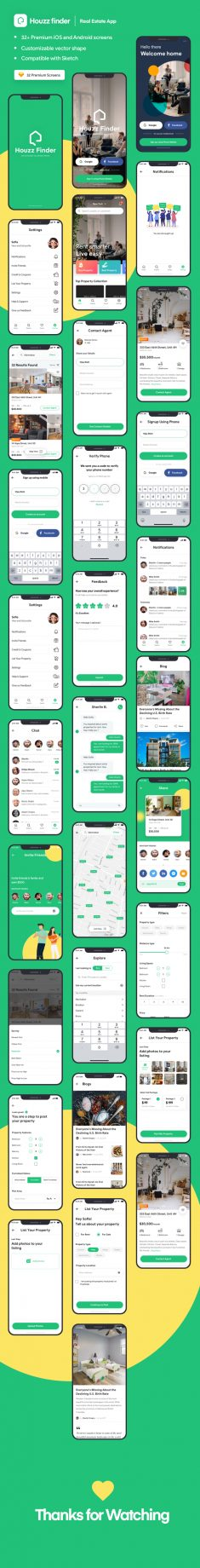 Houzz Finder – A Real Estate iOS Mobile App UI Kit
