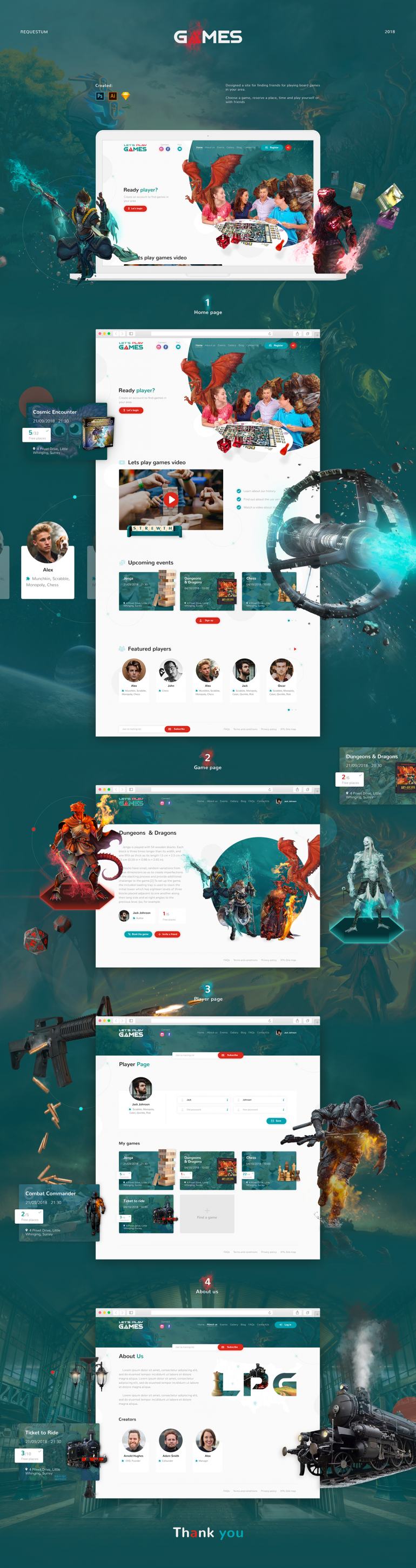 """Lets play games"" website design"