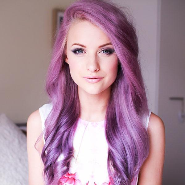 Straight and Curled Purple Hairstyle