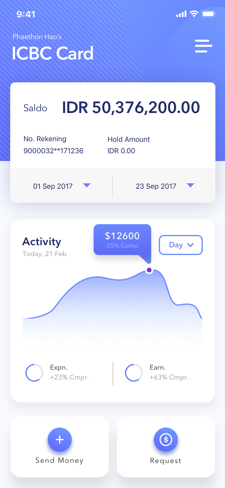 Wallet and Card Page of Finance APP Concept 3