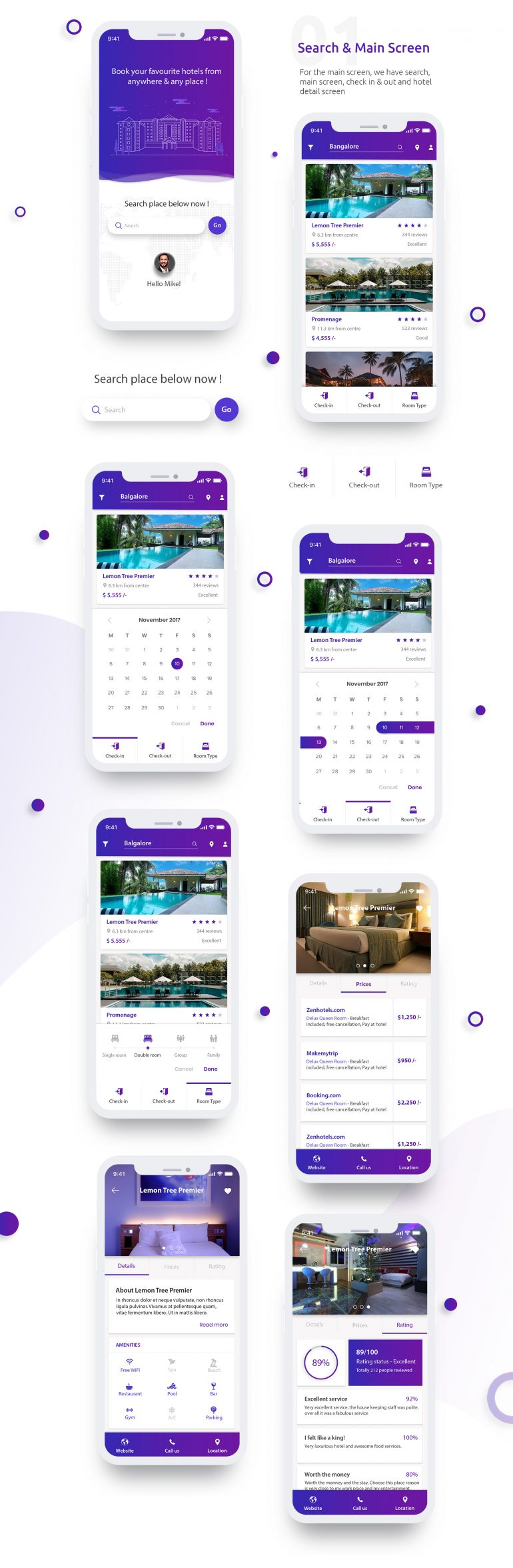 iOS UI Kit For Hotel Booking