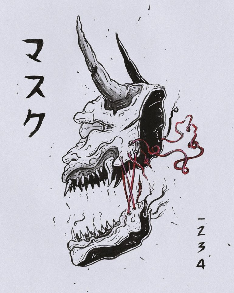 Devil japanese mask drawing