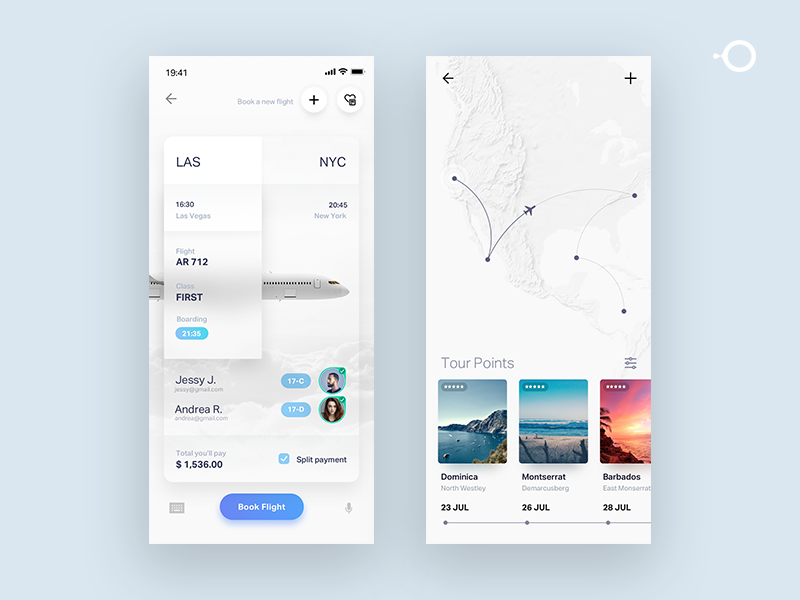 Travel tickets simple UI