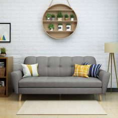 Angelina Mid Century Grey Fabric Sofa