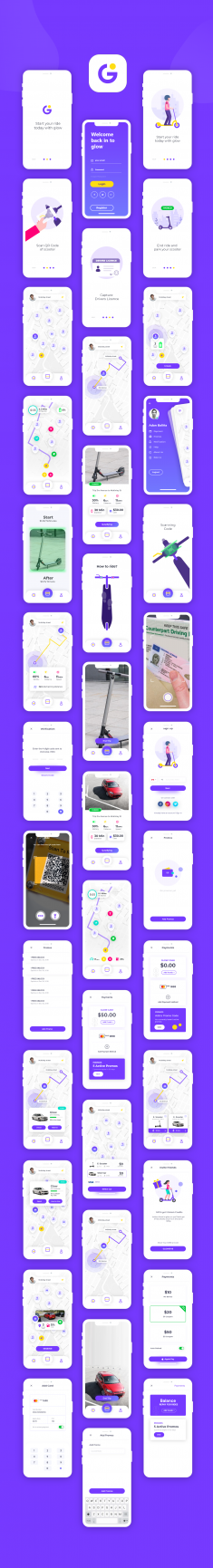 Glow Scooter Rent App Design