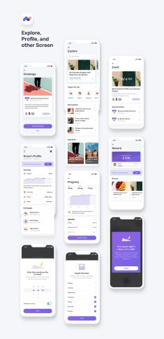 Momotaro Health Fitness Mobile App UI UX Kit