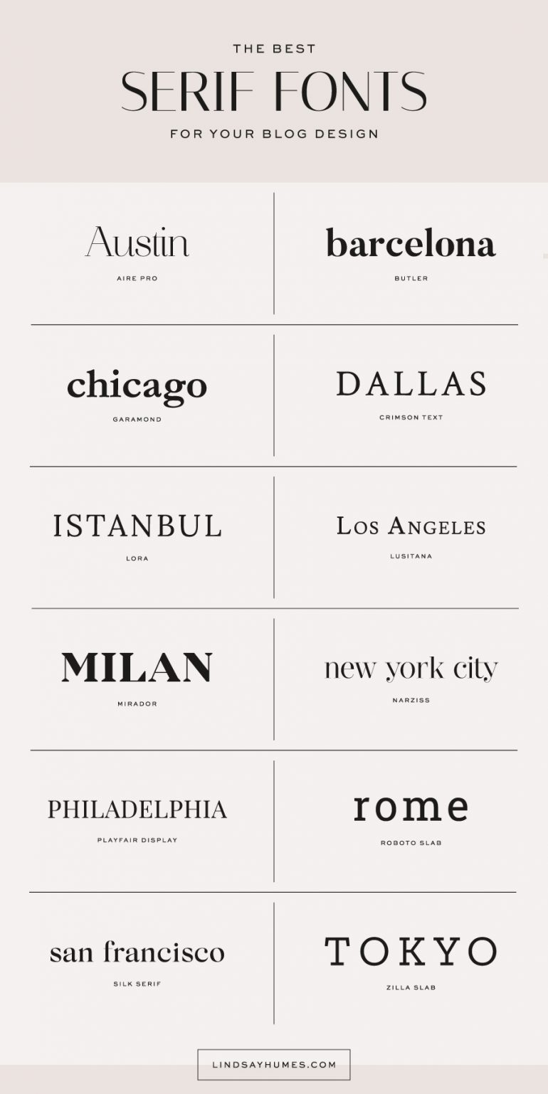 The Best Serif Fonts for Blog Designs