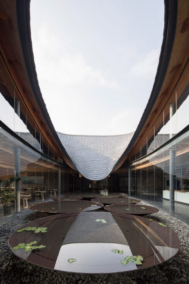 Archi-Union references calligraphy in roof of Inkstone House cultural centre